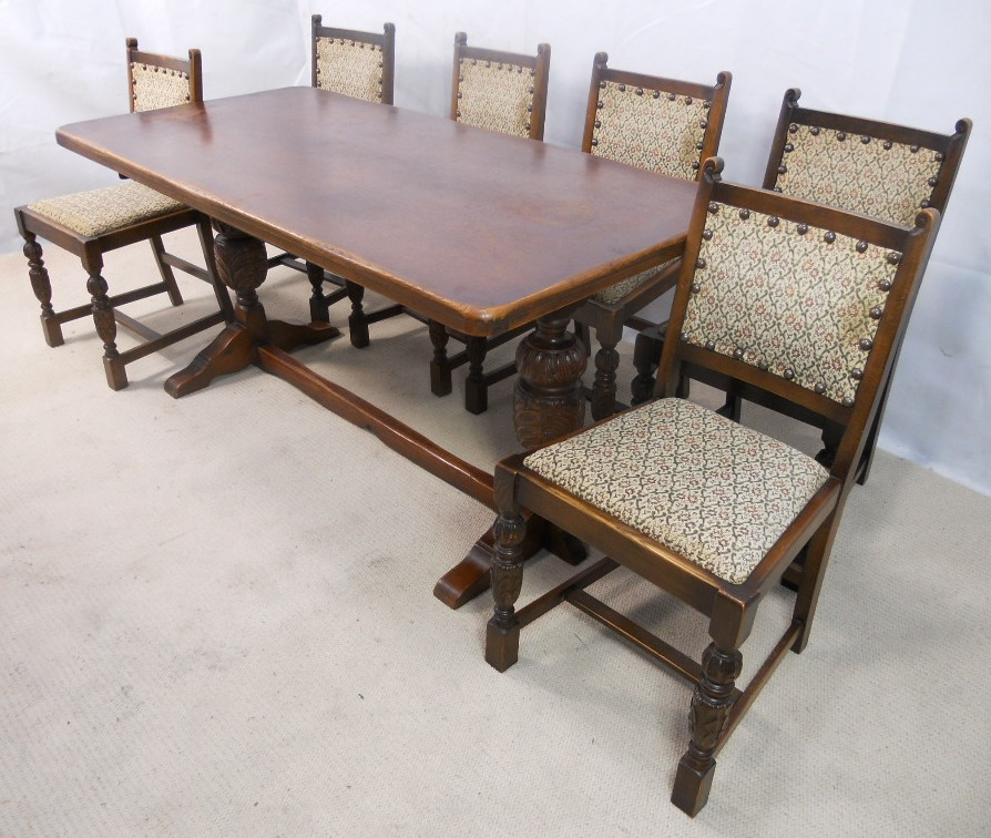 Sold Antique Jacobean Style Oak Beech Refectory Dining Table